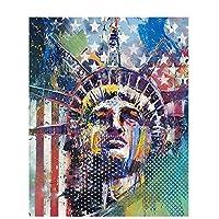 Darmeng DIY 5D ダイヤモンドペインティング 自由の女神 アメリカ国旗 女神 フルドリルキット ラウンドドリルペイント ダイヤモンドアート ナンバーキット クラフトキャンバス ホームウォールデコ 12x16インチ