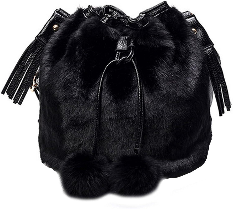 YAOSEN Women Faux Fur Bucket Bag Plush Drawstring Shoulder Bag Crossbody Bag with Pompon