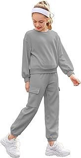 لباس رياضي للبنات قطعتين من EKouaer بأكمام طويلة وسروال مع جيب ملابس الأطفال الصغار
