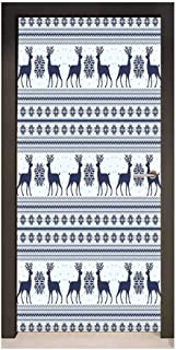 Homesonne Nordic Door Wallpaper Pixel Art Style Christmas Pattern with Reindeer and Snowflake Motifs Door Creative Decoration Dark Blue Pale Blue White,W32xH80