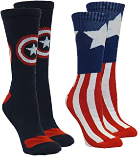 Marvel Captain America Men's Athletic Crew Socks, 2-Pair Pack, Sock Size 10-13 / Shoe Size 6-12