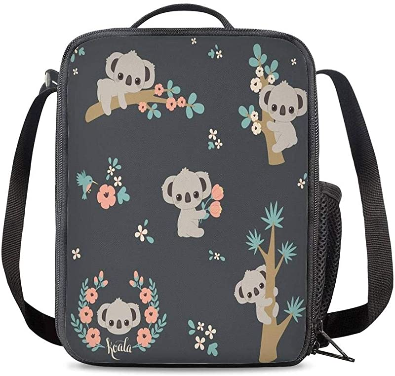 KiuLoam Cute Koala Tree Branch Small Lunch Box Insulated Lunch Bag With Zipper Shoulder Strap Cooler Lunch Tote For Boys Girl Preschool Office Picnic