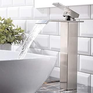 VESLA HOME One Hole Single Handle Waterfall Brushed Nickel Bathroom Faucet, Bathroom Sink Vessel faucet Lavatory Mixer Tap
