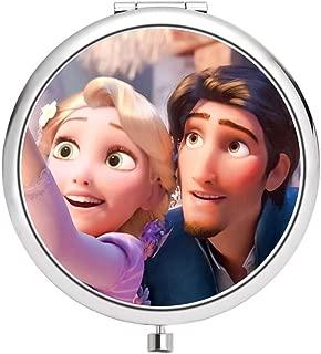 DISNEY COLLECTION Makeup Mirror for Women Girls Tangled Rapunzel Love Pattern Design Light Cute Portable Delicate