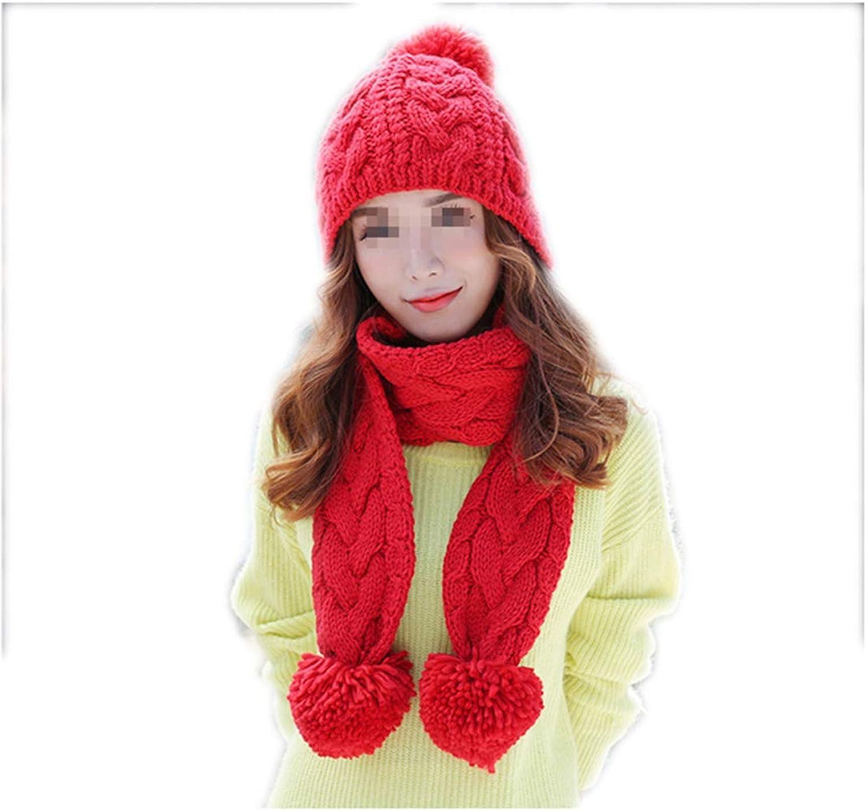 Women's Wool Hat Scarf One Suit Warm Hooded Bib,RedOneSize
