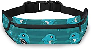 Cute Dolphin Fanny Packs for Women Men Unisex Waist Bag Pack with Headphone Jack and Zipper Adjustable Strap Fashion Bum Bag for Party, Music Festival, Rave, Hiking, Vacation, Trip