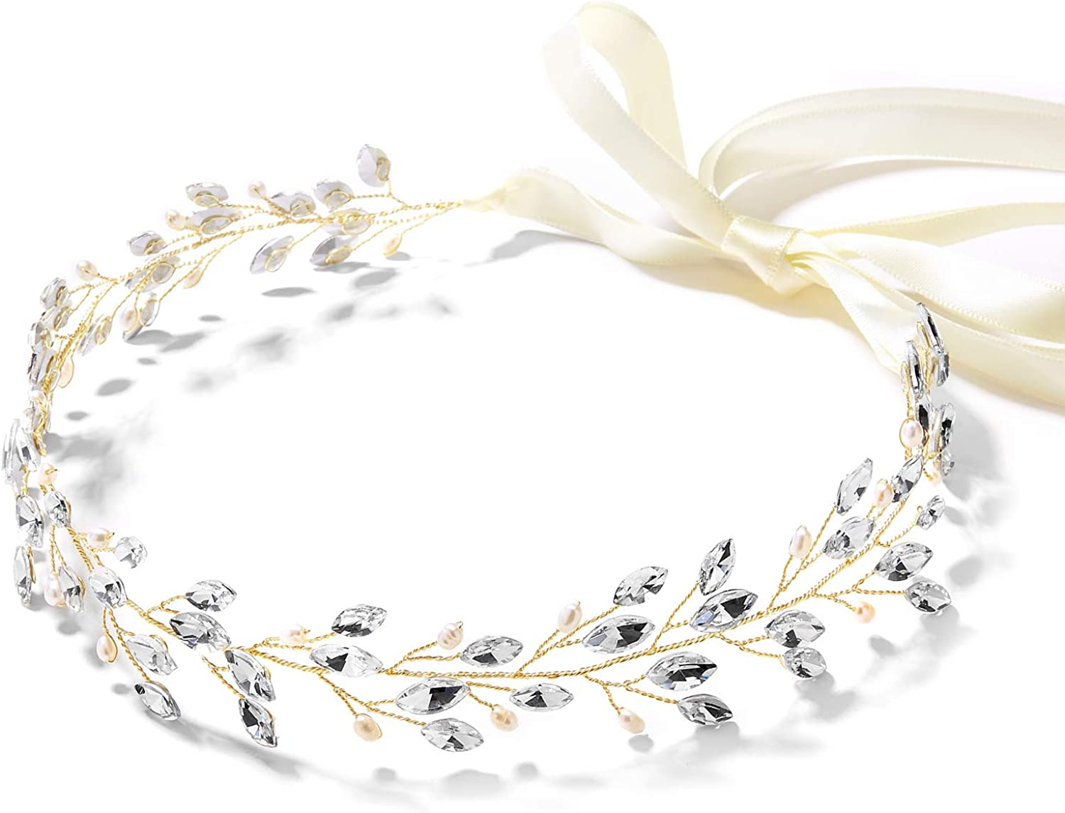 Mariell Bridal and Wedding Gold Jeweled Headband with Crystal Gems, Freshwater Pearls and Ivory Ribbon