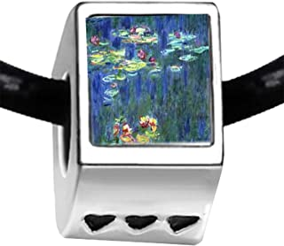 Silver Plated Monet Water Lilies Photo Three Heart Beads Charm Bracelets