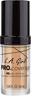 L.A. Girl Pro Coverage Liquid Foundation, GLM644 Natural, 0.95 Fluid Ounce