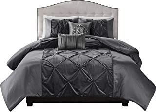 Madison Park Mia Faux Velvet 5 Piece Comforter Set Grey King,