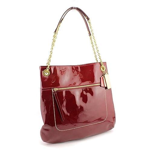 ff96bd10d55b Coach Poppy Patent Leather Slim Tote Handbag Purse Crimson Red 21583