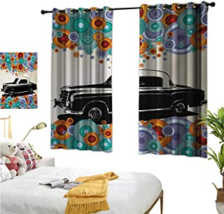 Vintage Customized Curtains Retro Car Concept Art Poster with Colorful Circles Artistic Drawing Illustration W55 x L39,Suitable for Bedroom Living Room Study, etc.