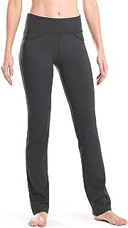 "Safort 28""/30""/32""/34"" Inseam Regular/Tall Mid-Waist Straight Leg Yoga Pants, Four Pockets, Non-See-Through"