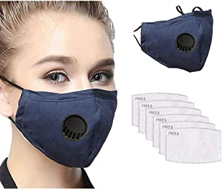 JQjian 1PCS Adjustable Face Bandanas with Breathing Valve + 6PCS 5Ply Activated Carbon Filter Replaceable for,Outdoors, Festivals, Sports