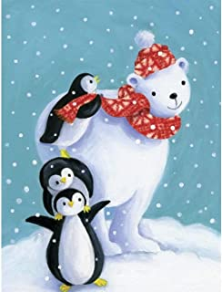 Kaliosy 5D Diamond Painting Christmas Tree Penguin Polar Bear by Number Kits Paint with Diamonds Art for Adults, DIY Crystal Craft Full Drill Cross Stitch Decoration (12x16inch)
