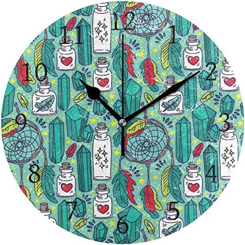 quanjiafu Reloj De Pared Redondo Atrapasueños Mágicos Frascos De Vidrio Reloj De Decoración De Arte Tribal para El Hogar para La Oficina En Casa