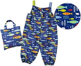 小川(Ogawa) キッズプレイウェア 90cm クッカヒッポ おさかな お砂場着 汚れにくい 裾にゴム付き はっ水 バック型収納袋付 83197