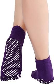 YiyiLai Women Cotton Anti Skid Grips Barre Pilates Yoga Ankle Socks