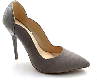 Angkorly - Chaussure Mode Escarpin bi-matière Stiletto Femme Verni Daim Talon Haut Aiguille 11 CM