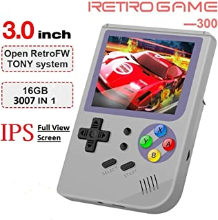 MJKJ Handheld Game Console , 2019 Upgraded RG300 Retro Game Console OpenDingux Tony System Built-in 3007 Classic Game Console 3 Inch IPS Screen Portable Video Game Console - Gray