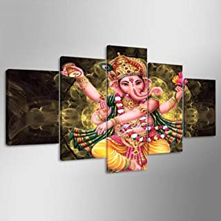 ZHFFYY Wall Decor Hd Printed Modern Abstract Canvas 5 Panel Lord Ganesha Images Painting Wall Art Modular Poster Frame Pictures Home Decor