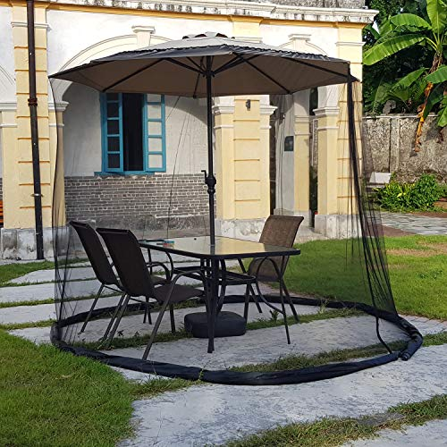 CYTBP Patio Umbrella Mosquito Nets,Polyester Mesh,with Zipper Door and Adjustable Rope,Fits 8-10FT Umbrellas and Patio Tables