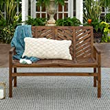 Contemporary Durable Solid Acacia Wood Outdoor Patio Bench Loveseat...