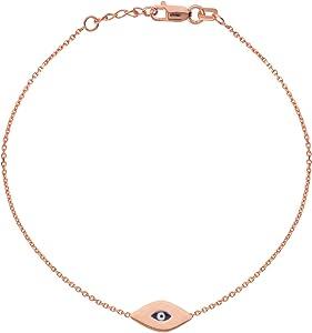 14k Rose Gold Mini Evil Eye Bracelet Adjustable Length East2West Collection