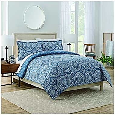 Marble Hill 3 Piece Harley Reversible Comforter Set, King, Blue