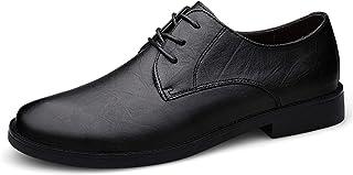 DADIJIER Oxfords Vestido Zapatos para Hombres Llano Redondo Toe 3-Ojo Lace Up Bajo Bloque Tacón De Cuero Genuino Suela