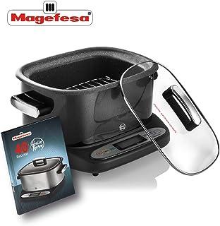 MAGEFESA Olla eléctrica de cocción Tradicional GUISOTHERM 6L 1250 W, Incluye Libro de Cocina con Recetas, Recipiente extraíble Anti adherente Doble Capa, Apto para lavavajillas (Negro)