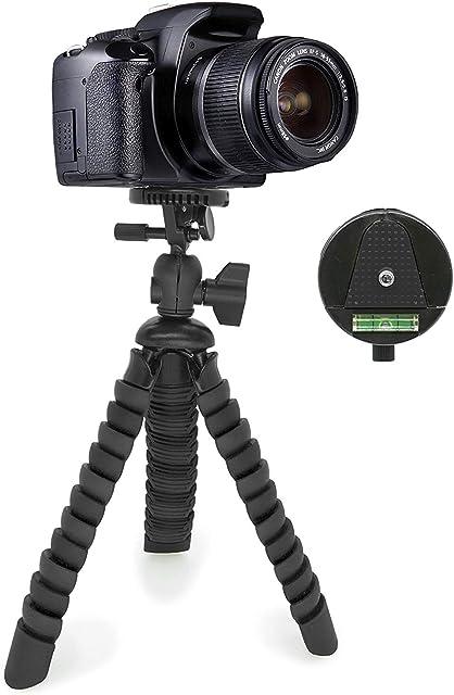 MyGadget Mini Trípode Ultra Flexible Portatíl para Cámara Reflex con Liberación rápida de Placa - Montaje Universal 360° con Base de Soporte Pulpo - Negro