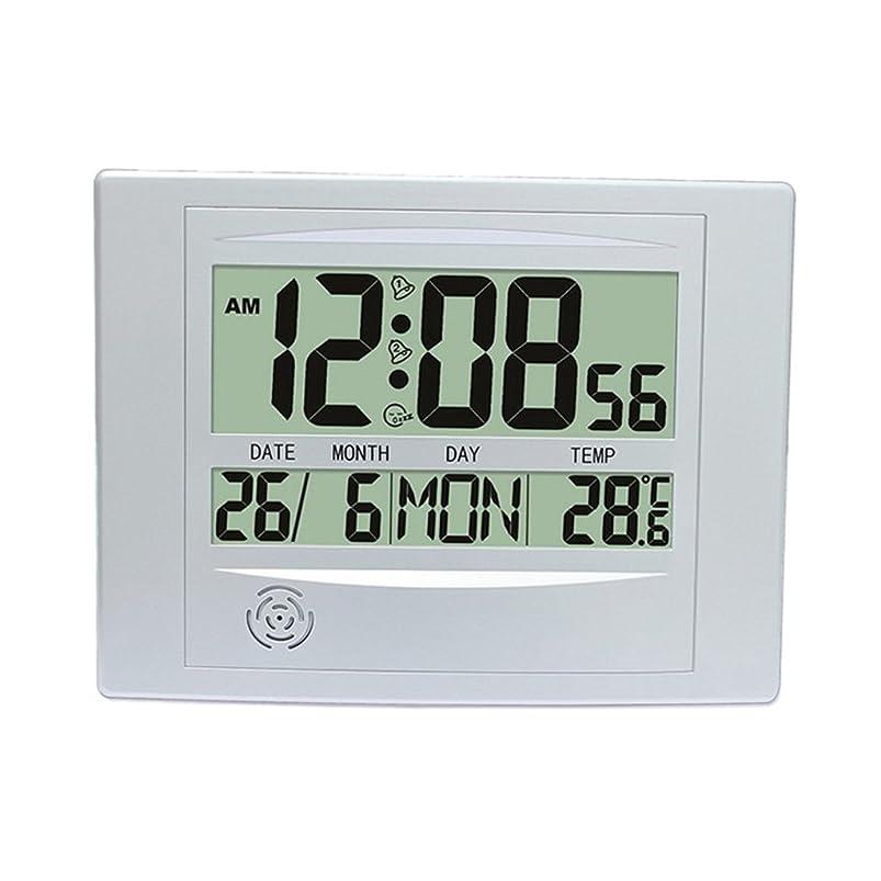 豆腐覚醒完璧な大型 デジタル LCDカレンダー ラームクロック LCDクロック 耐久性 - 銀