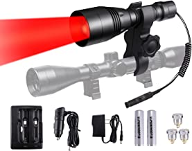 LUMENSHOOTER A8Plus Long Range Zoomable Hunting Flashlight Spotlight Kit, Green Red White Infrared 850nm IR Interchangeable LED Modules, Predator Night Light Torch for Coon Coyote Hog Fox Varmint