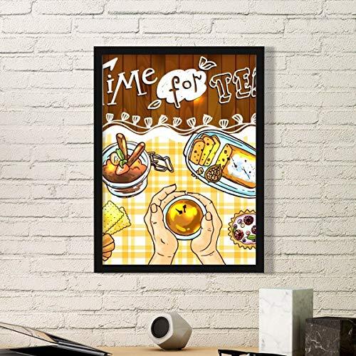 DIYthinker tijd voor thee koekjes chocolade eenvoudige foto frame kunst drukt schilderijen thuis muursticker cadeau
