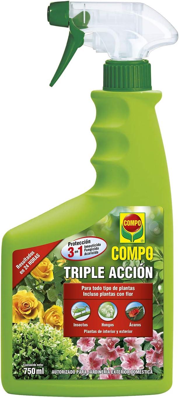 Compo Triple Acción Protección Contra Insectos Hongos Y ácaros Para Plantas De Interior Y Exterior Resultados En 24h Envase Pulverizador 750 Ml Amazon Es Jardín