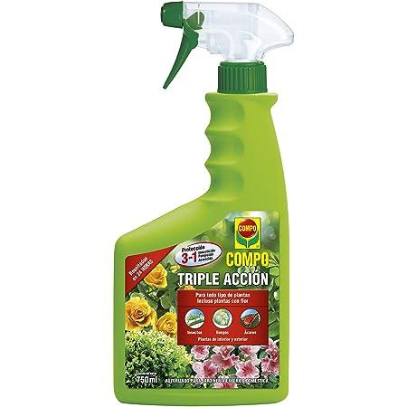 Compo Triple Acción Protección contra Insectos, Hongos y ácaros, para Plantas de Interior y Exterior, Resultados en 24h, Envase pulverizador, 750 ml