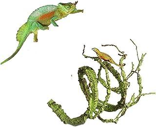 ZYZ Vides de Reptiles, Selva Flexible Escalador Largo Vides Hábitat Decoración Plástico Terrario Hojas para
