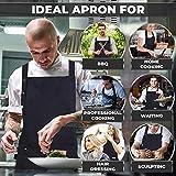 SCOBUTY Grillschürze,Küchenschürze,Verstellbare Kochschürze, Kochschürze für Männer und Frauen, wasserdichte Kochschürze mit Taschen, langlebig - lustige Schürze für das Kochen im Freien, Grillpartys - 2