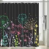 Dandelion Duschvorhang, Blau Gelb Löwenzahndisteln Duschvorhang, Distel Floral Stoff Duschvorhang für Badezimmer, wasserdichte Duschvorhanghaken inklusive, 177,8 cm