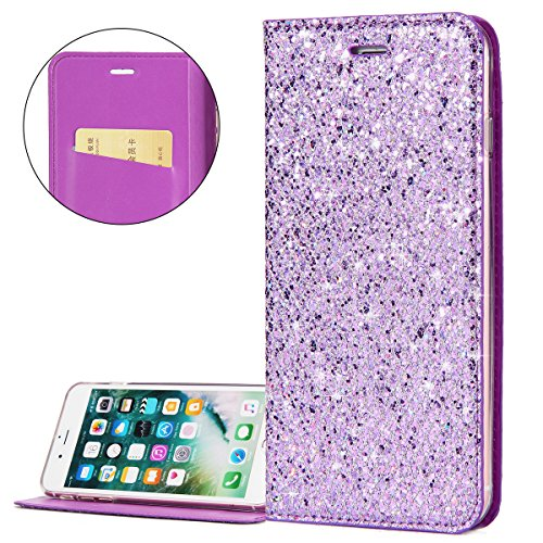 ISAKEN Cover compatibile con iPhone 7 Plus/iPhone 8 Plus Glitter, ISAKEN Bookstyle Flip Caso Portafoglio Wallet Case Cover con Supporto di Stand/Carte Slot/Chiusura Magnetica - Viola