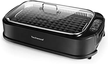 Techwood Indoor Smokeless Grill 1500W Power Electric Grill with Tempered Glass Lid, Compact & Portable Non-stick BBQ Grill with Turbo Smoke Extractor Technology, LED Smart Control panel