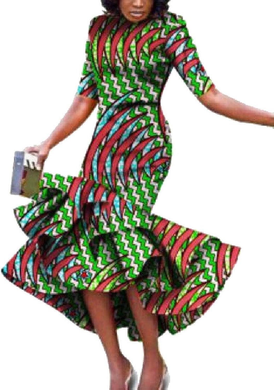 Alion Womens Sexy Round Nneck Half Sleeve African Print Mermaid Dress