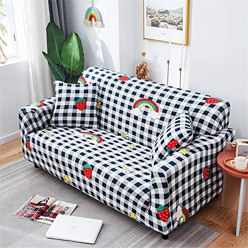 Surwin Funda de Sofá Elástica para Sofá de 1 2 3 4 plazas, Impresión Universal Cubierta de Sofá Cubre Sofá Funda Furniture Protector Antideslizante Sofa Couch Cover (Fresa,3 plazas - 190-230cm)