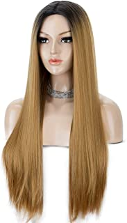 K'ryssma Honey Blonde Wig Straight Long Ombre Synthetic Wig with Dark Roots Glueless Middle Part Ombre Blonde Wigs for Women 22 inches (#27)