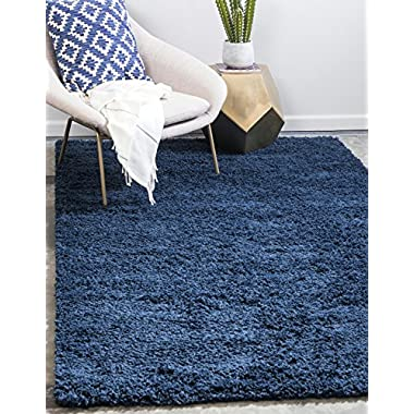 Unique Loom Solo Solid Shag Collection Modern Plush Navy Blue Rectangle (5' x 8')