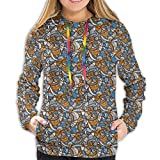 Women's Hoodies Sweatshirts,Ethnic Doodle Drawing Style Traditional Shapes Design Floral Arrangement XL