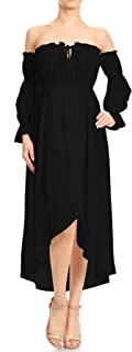 Womens Casual Boho Long Sleeve Off Shoulder Renaissance Peasant Dress