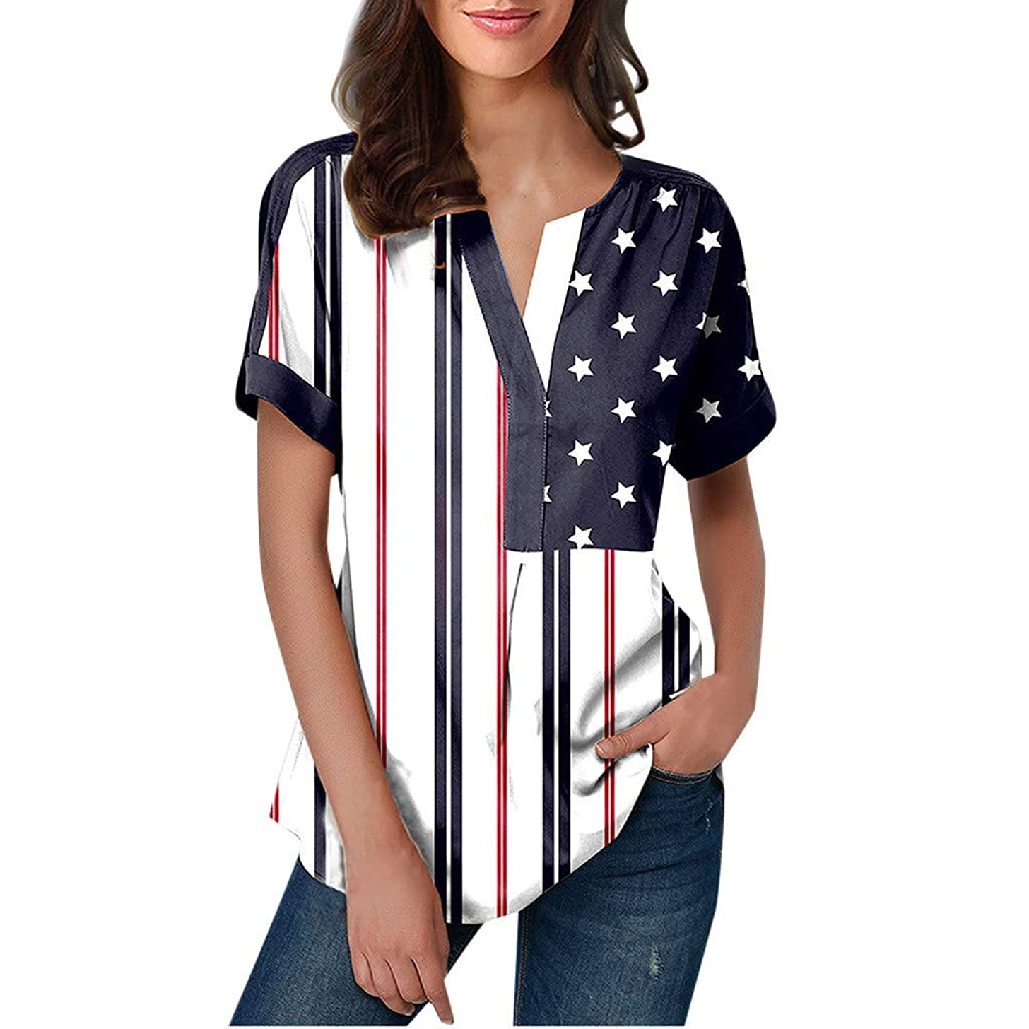 〓COOlCCI〓Womens Casual Long Sleeve Color Block Stripe T Shirts Tops Blouse V Neck Shirts Casual Work Tops Tunic Tops