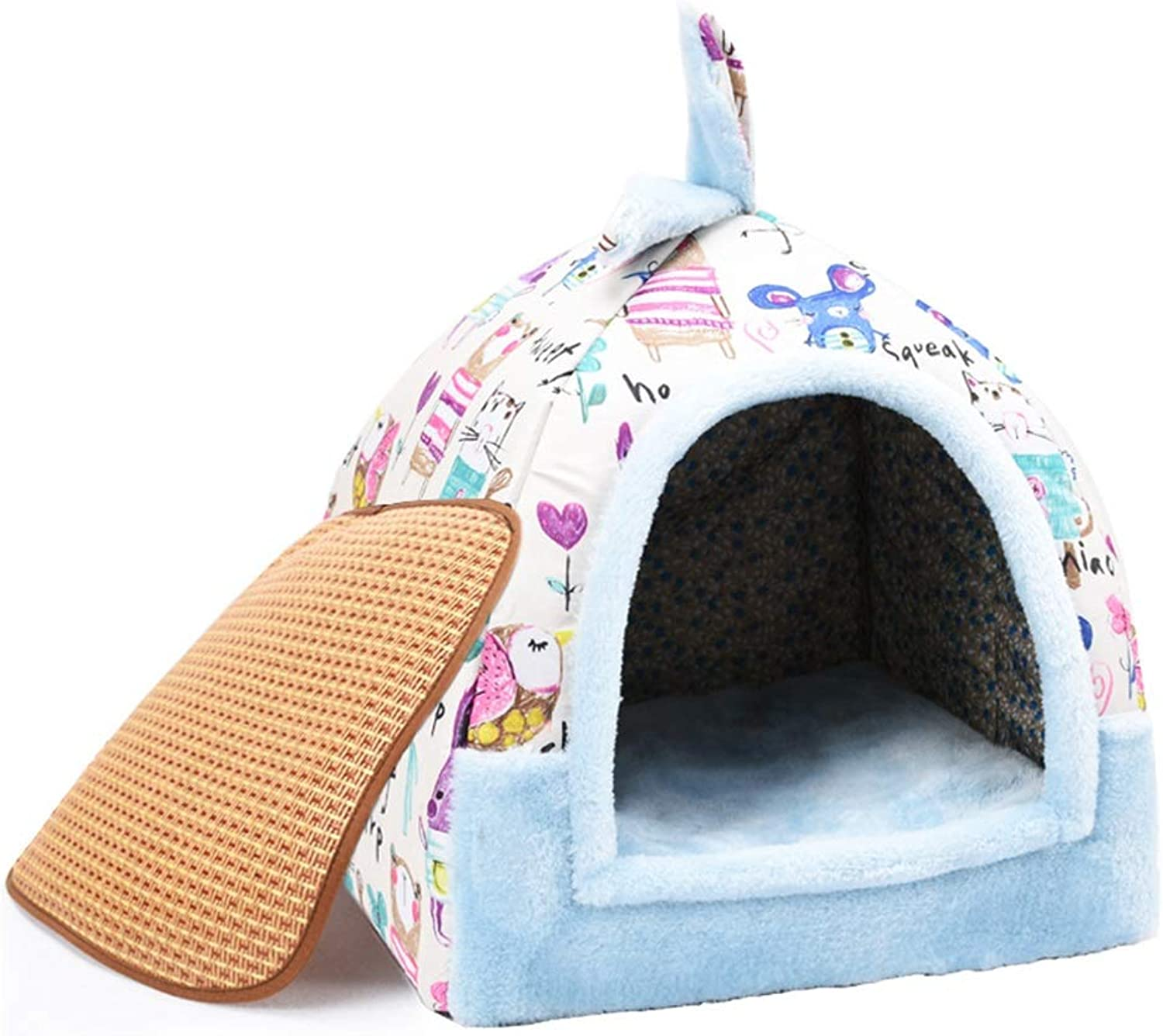 Pet Nest, Cat Kitten Puppy Dog Soft Kennel Yurt Winter Dualuse Removable and Washable Pet House Cave Nest Bed Basket (color   7, Size   M)